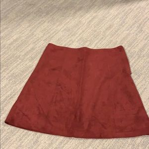Burgundy Faux Suede Skirt